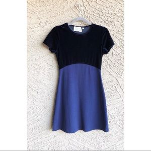 VTG VINTAGE 90's Navy Blue Velvet Mini Dress